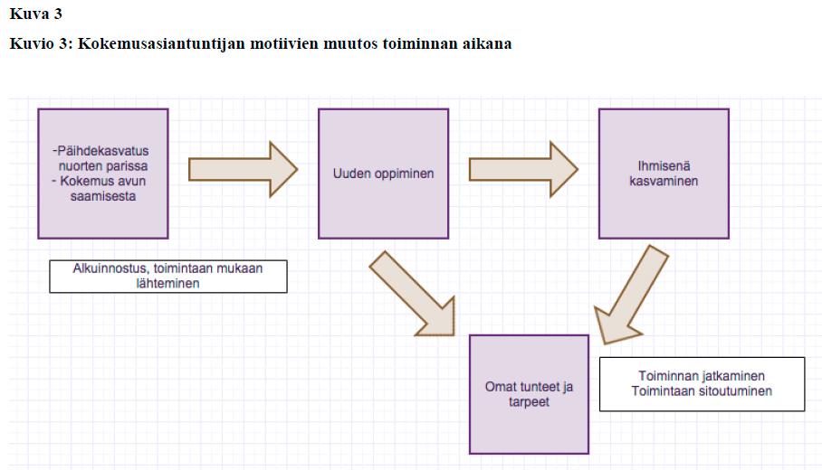 Kokemusasiantuntijan motiivien muutos toiminnan aikana -kaavio