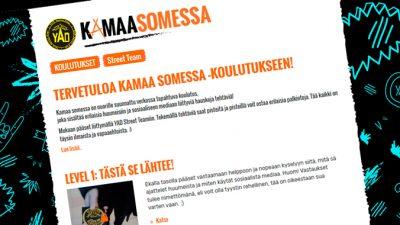 Kuvakaappaus Kamaa somessa -koulutuksen verkkosivuilta