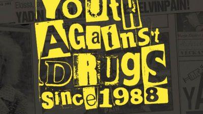 """YAD-kortti tekstillä: """"Youth Against Drugs kutsuu SINUT juhlimaan"""""""