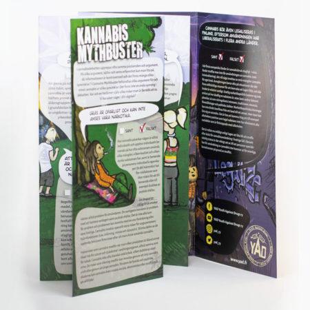 Kuva ruotsinkielisestä Cannabis Mythbuster -esitteestä.