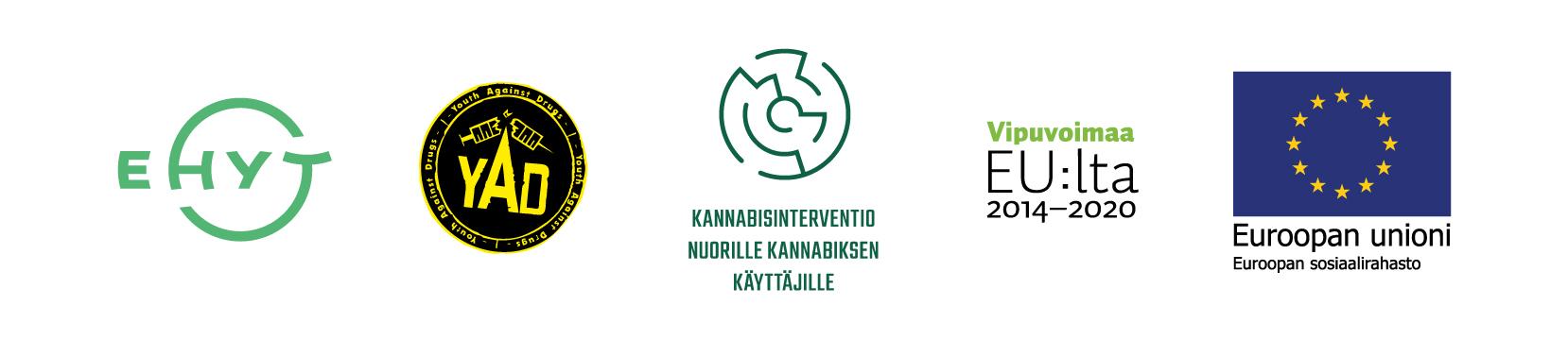 Kuvassa kannabishankkeessa mukana olevien tahojen logoja