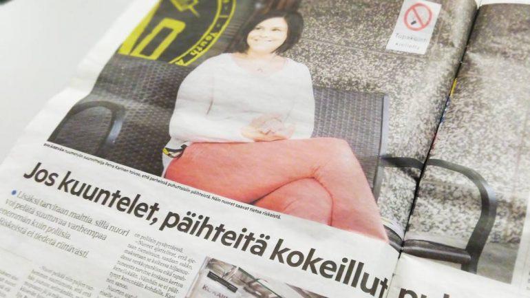 Kuva sanomalehtiartikkelista, jossa haastateltu Petraa.