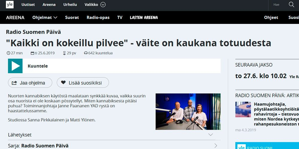 Kuvaruutukaappaus Radio Suomen sivuilta