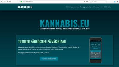 Kuvakaappaus kannabis.eu -oma apu -sivuston kuvakaappaus