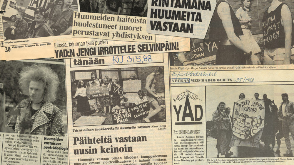 Kuva sanomalehtiartikkeleista kootusta kollaasista