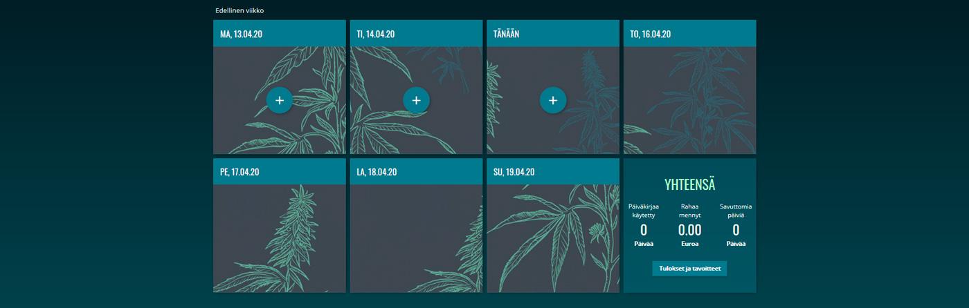 Kuvakaappaus kannabispäiväkirjan sivuilta. Kannabispäiväkirja löytyy osoitteesta kannabis.eu.