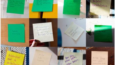 Kollaasi, jossa nuorten kirjoittamia post-it-lappuja, joissa ajatuksia kannabiksesta ja sen käytön lopettamisesta.